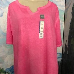 Terra & Sky Pink Split Neck Short Sleeve Tunic Top